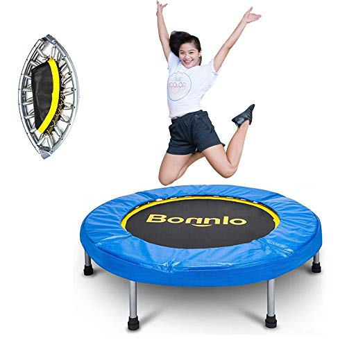 (Bonnlo Upgraded 38/40/60 inch Rebounder Trampoline Fitness with Safety Pad Max Load 220 lbs, Folding Trampoline, Twice Foldable Portable Trampoline Cardio Workout Fitness (mini-40 inch) )