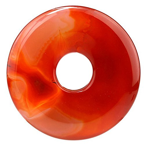 Red Donut - Beautiful Sea Sediment Jasper Donut Pendant Bead 50mm More Material Offer (Red agate)