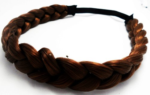 Headband Fashion Elastic Stretch Synthetic Hair Braid Braided Headband Color Brown (1 Pcs.)