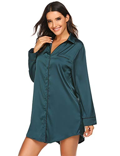 Ekouaer Women Boyfriend Nightshirt Long Sleeve Nightshirt Silk Sleepwear Top Plus Size Pj Top Dark Green