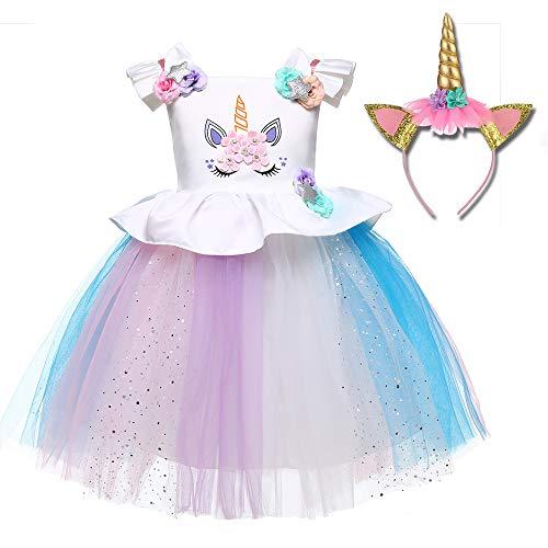 Freeprance Unicorn Costume Unicorn Party Dresses Princess Costumes for Girls 03_XBL_80 -