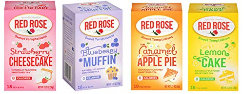Red Rose Sweet Temptations Herbal Tea 4 Pack Gift Set! Includes Flavors Such As: Strawberry Cheesecake, Lemon Cake, Blueberry Muffin, Caramel Apple Pie! Your Favorite Desserts In A Delicious Drink!