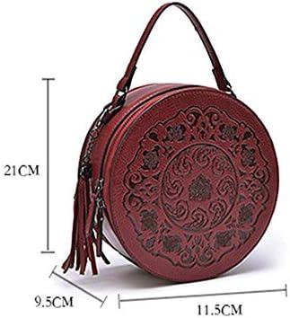 HUIGE Borse a Mano in Vera Pelle Design Vintage a Rilievo Borse a Tracolla Sacchetto Crossbody Small Round Bag,Rosso