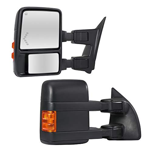 Towing Mirrors Passenger & Driver Side Power Operated & Heated With Amber Signal Black Finish Fits 2008-2016 Ford F-250/F-350/F-450/F-550 Super Duty - Manual Folding