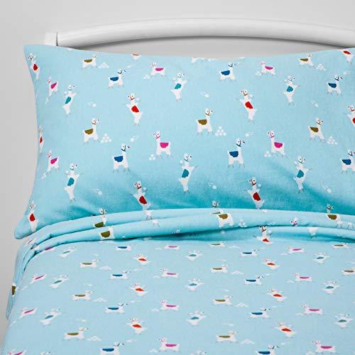 Pillowfort 100% Cotton Llama Landing Turquoise Blue Flannel Sheet Set - - Target Sheets Flannel