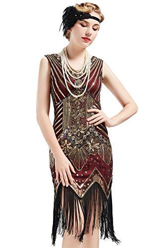 BABEYOND Women's Flapper Dresses 1920s V Neck Beaded Fringed Great Gatsby Dress (Gold & Wine Red, XL) -