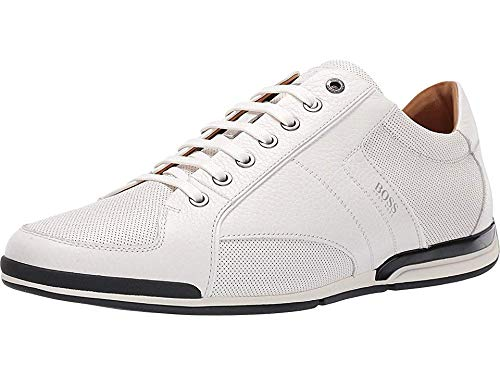 Hugo Boss BOSS Men's Saturn Low Profile Leather Sneaker by BOSS White 7 D US