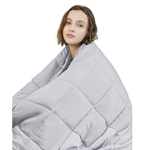YnM Weighted Blanket (15 lbs, 48''x72'', Twin Size) | 2.0 Heavy Blanket | 100% Cotton Material with Glass Beads