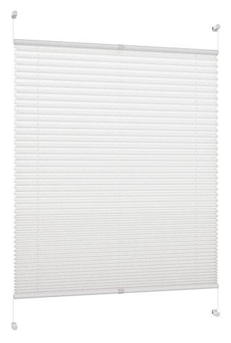 DecoProfi PL01070130 Plissee, verspannt, maximal Gesamthöhe Fensterflügel mit Klemmträger /-fix, ohne Bohren, 70 x 130 cm, weiß