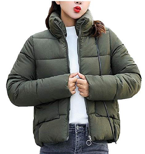 Short Warm Thicken Women's Collar Outwear Green Down Stand Army Quilted Jacket security qxY80UZZ