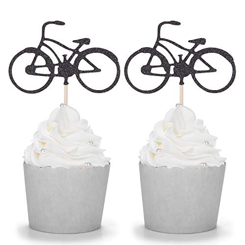 24 Black Glitter Bike Cupcake Toppers Cycling Theme Party Kid's Birthday Decorations]()