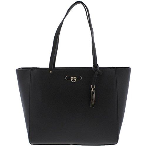 Jones New York Womens Madison Faux Leather Casual Tote Handbag Black Large