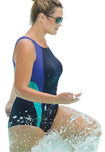 Swim 365 Women's Plus Size Colorblock Maillot Navy Violet Seafoam,34