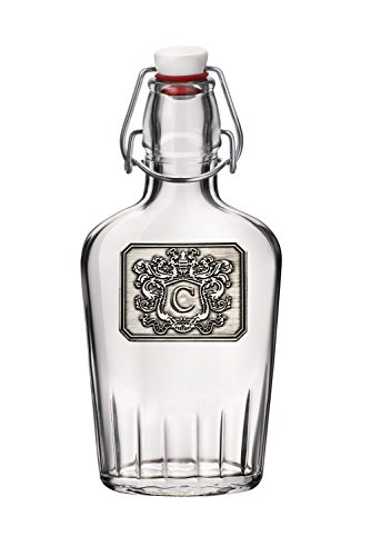 Personalized Glass Pocket Flask – Monogram Initial Pewter Engraved Crest – Novelty for Weddings, Birthdays or any Special Occasions – Pick Your Letter (C, (Pewter Letter)