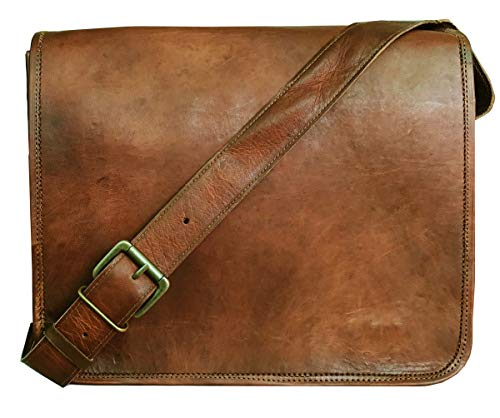 Leather Full Flap Messenger Handmade Bag Laptop Bag Satchel Bag Padded Messenger Bag School Bag Brown (13X18) - Korchmar Leather Satchel