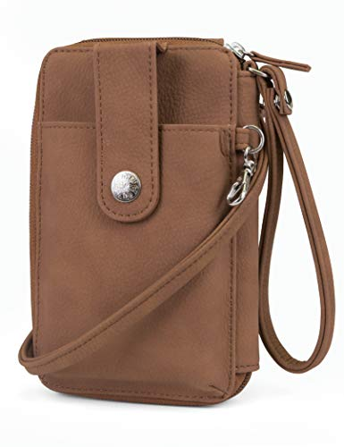 Mundi Jacqui Vegan Leather RFID Womens Crossbody Cell Phone Purse Holder Wallet (Brown Sugar) ()