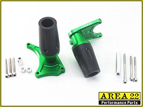 Area 22 Kawasaki Z125 2017 CNC Frame Crash Protectors Sliders Green A22CP03N