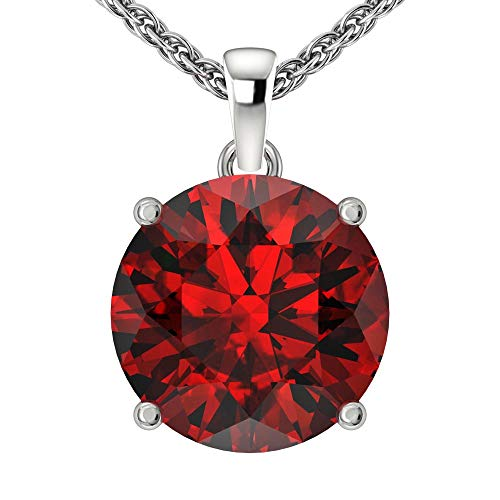 Belinda Jewelz 14k Rhodium Plated White Gold Round Cut Gemstone Sparkling Rope Chain Sterling Silver Birthstone Fine Jewelry Classic Womens Hanging Pendant Necklace, 3.8 Carat Garnet Red, 18 inch ()