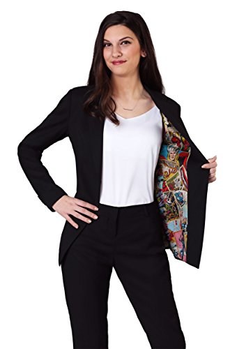 Marvel Women's Vintage Print One-Button Blazer Size (Two Button Vintage Blazer)