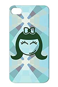 TPU Funny Sweet Smiley Face Child Woman Comic Girl Female Cartoon Girly Cute Black Protective Case For Iphone 4s F1