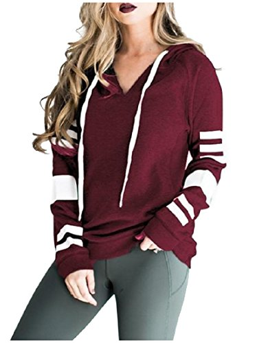 AngelSpace Womens Long Sleeve Hooded Hoodie Striped Drawstring Outerwear Wine Red