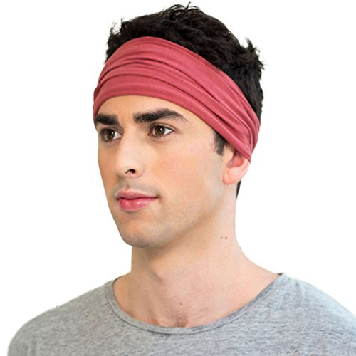KOOSHOO ORGANIC MEN'S HEADBAND in MARSALA RED by Twist Headband for Men Ethically made from Breathable, Sweat-Wicking Organic Cotton | Functional & Fashionable Headband for Yoga and Sports - Cotton Spandex Headband