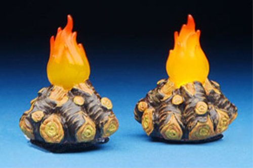 Fontanini 2 Pc Set Lighted Campfires * Nativity Village Collectible 56597 by Fontanini
