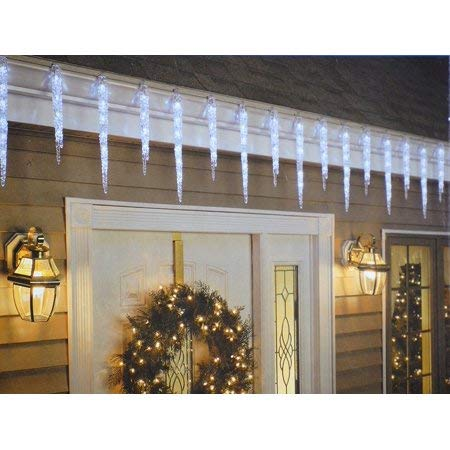 Twinkling Set - GE 20-Count 100 LED Twinkling Ice Crystal Icicle Set, Crystal White