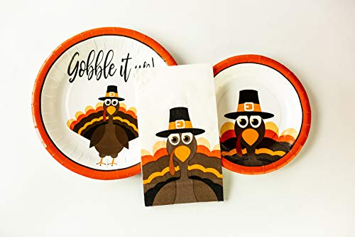 Cute Thanksgiving Turkey Paper Plates- 12 Entree Plates, 12 Side Dish Plates, 24 - Plate Turkey Paper