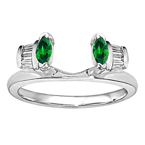 TwoBirch 0.3 Created Emerald And Diamonds(G-H,I2-I3) Traditional Baguette and Marquise Jacket Ring in Silver (1/3 ct. twt.)