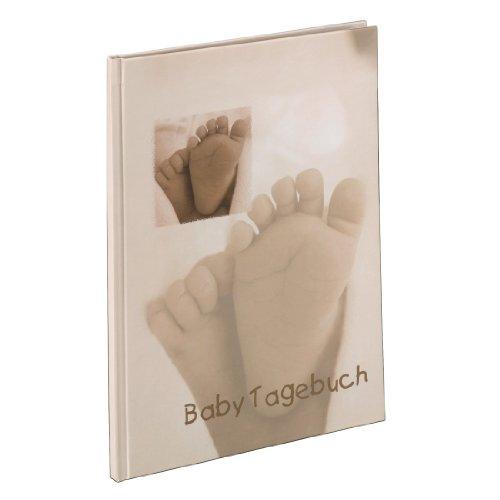 Hama Baby Tagebuch Baby Feel für Jungen und Mädchen (Album 20, 5 x 28 cm, Babytagebuch mit 44 illustrierten Seiten) Sand