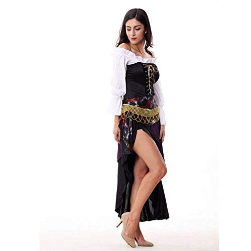 Fashion-Cos1 Halloween Punk Women Gothic Vintage Long Sleeve Black Dress Renaissance Costumes Female Witch Dress Black Mesh Long Skirt]()