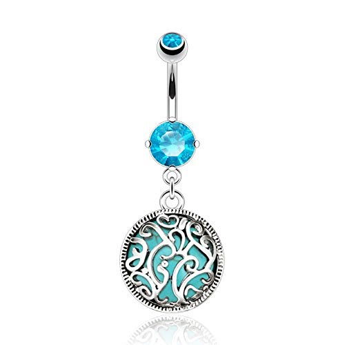 Dynamique Swirls Medalian with Turquoise Precious Stone Inside Navel Ring