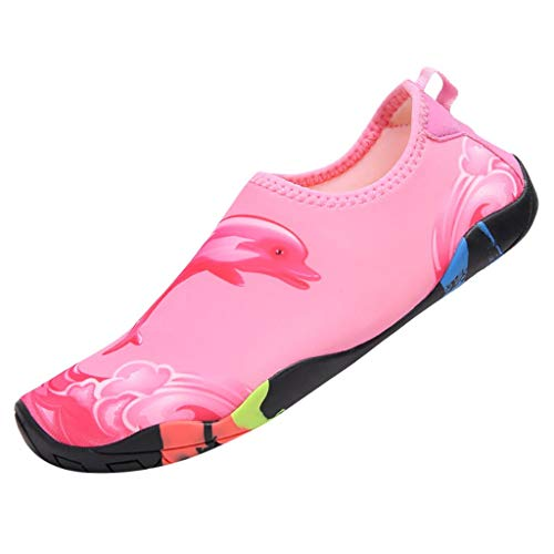 Barefoot Quick-Dry Water Sports Shoes Socks for Swim Beach Pool Surf Yoga for Women Men (Pink,Blue/35-42)]()