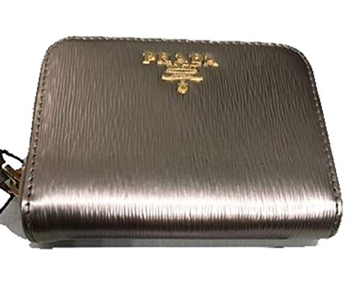 56c04425733d Prada Portamonete Vitello Move Pirite Gold Leather Zippered Wallet 1MM268