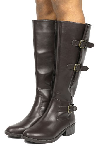 w Riding Wide High marran Fashion TOETOS Calf Women's Boots Knee Brown vTqfIwBnRx