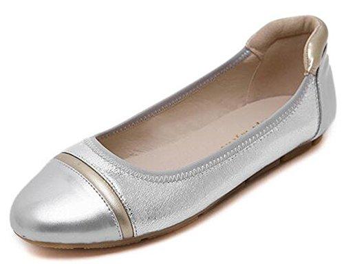 Toe Low Comfy IDIFU Top Slip Cap Flats On Silver Shoes Womens qUatxwfF