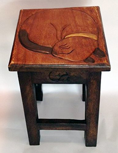 Sleeping Kitty Hand Carved Wooden Stool/Table