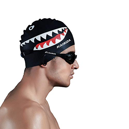 Ytf Silicone Swimming Cap for Men,High Elasticity Swimming Cap,Shark Swimming Cap for Men Large Head,Swimming Cap for Men Prime for One Size Hat ()