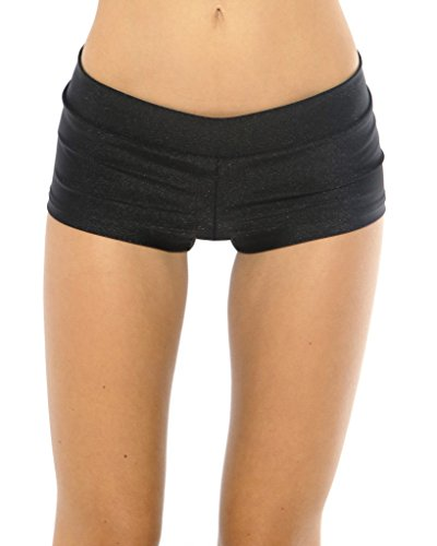 iHeartRaves Black Solid Rave Booty Shorts (Medium) -