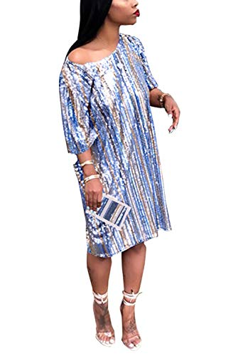 (Women Girls Fashion Stylish Off Shoulder Half Sleeve Sequins Rainbow Striped Tees Tunic Tops Basic T-Shirts Bodycon Bandage Party Club Mini Dress Blue XXL)