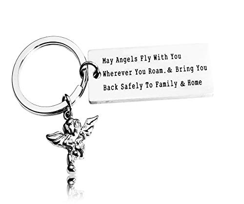 Traveller Gift Travel Prayer Keychain Graduation Gift May Angels Fly with You Wherever You Roam Bring You Back Safely to Family and Home (Keychain)