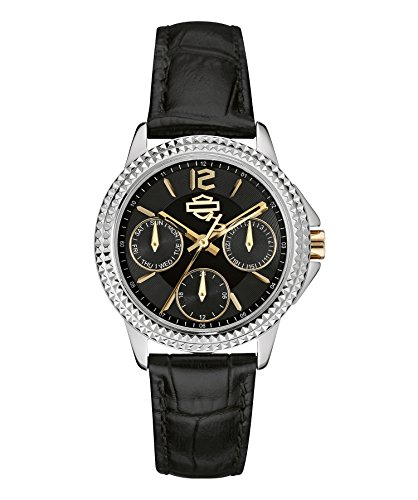 Harley-Davidson by Bulova 78N100 Women's Analog Multifunction Dial Watch Black Leather Strap