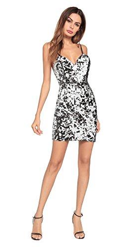 mujer FOLOBE de la de vestido lentejuelas vestido de noche fiesta Silver tHHqr4BW