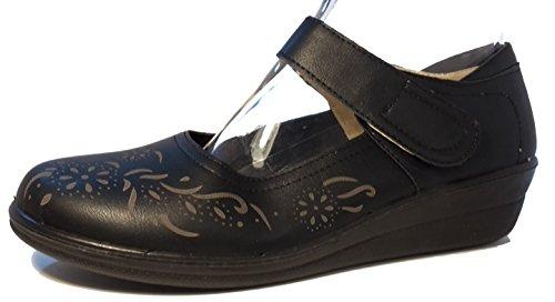 Elegante Slippers Halbschuhe Mokassins Ballerinas mit Keilabsatz in Lederoptik, schwarz, Damenschuhe, HAL102, Schuh für Damen, in topmodischem Look mit schickem Muster, hier: Schwarz. Schwarz