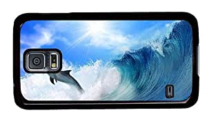 Hipster Samsung Galaxy S5 Cases rubber Dolphin jump Wave PC Black for Samsung S5
