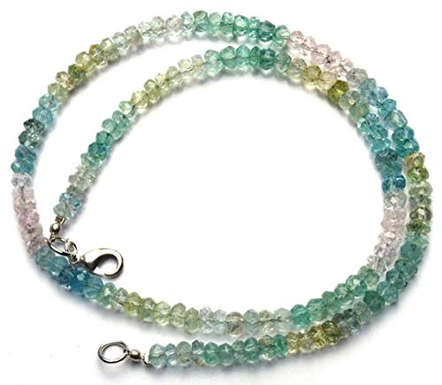 JP_BEADS 3 Strand Natural Multicolor Aquamarine Facet Rondelle Beads 16.5