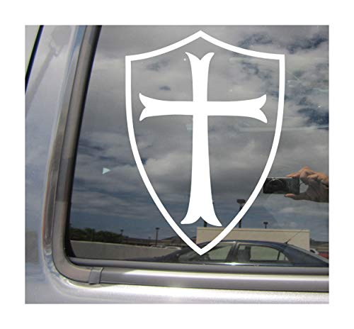 Right Now Decals Knights Templar Shield - Order of The Temple - Cars Trucks Moped Helmet Hard Hat Auto Automotive Craft Laptop Vinyl Decal Store Window Wall Sticker 09018 ()