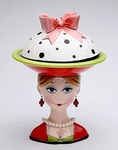 - 8 Inch Lady with Earrings and Red/White/Green Dilly Dot Top Candy Bowl
