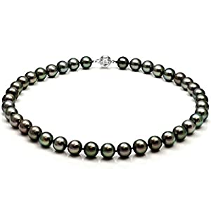 14k White Gold 8-11mm Round Black Tahitian Cultured AAAA High Luster Pearl Ball-clasp Necklace, 18